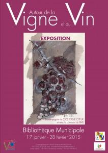 affiche exposition autour de la vigne et du vin 17 janvier 28 février 2015 BIB