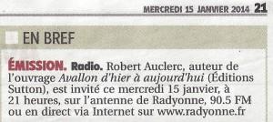 Annonce émission avec Robert Auclerc
