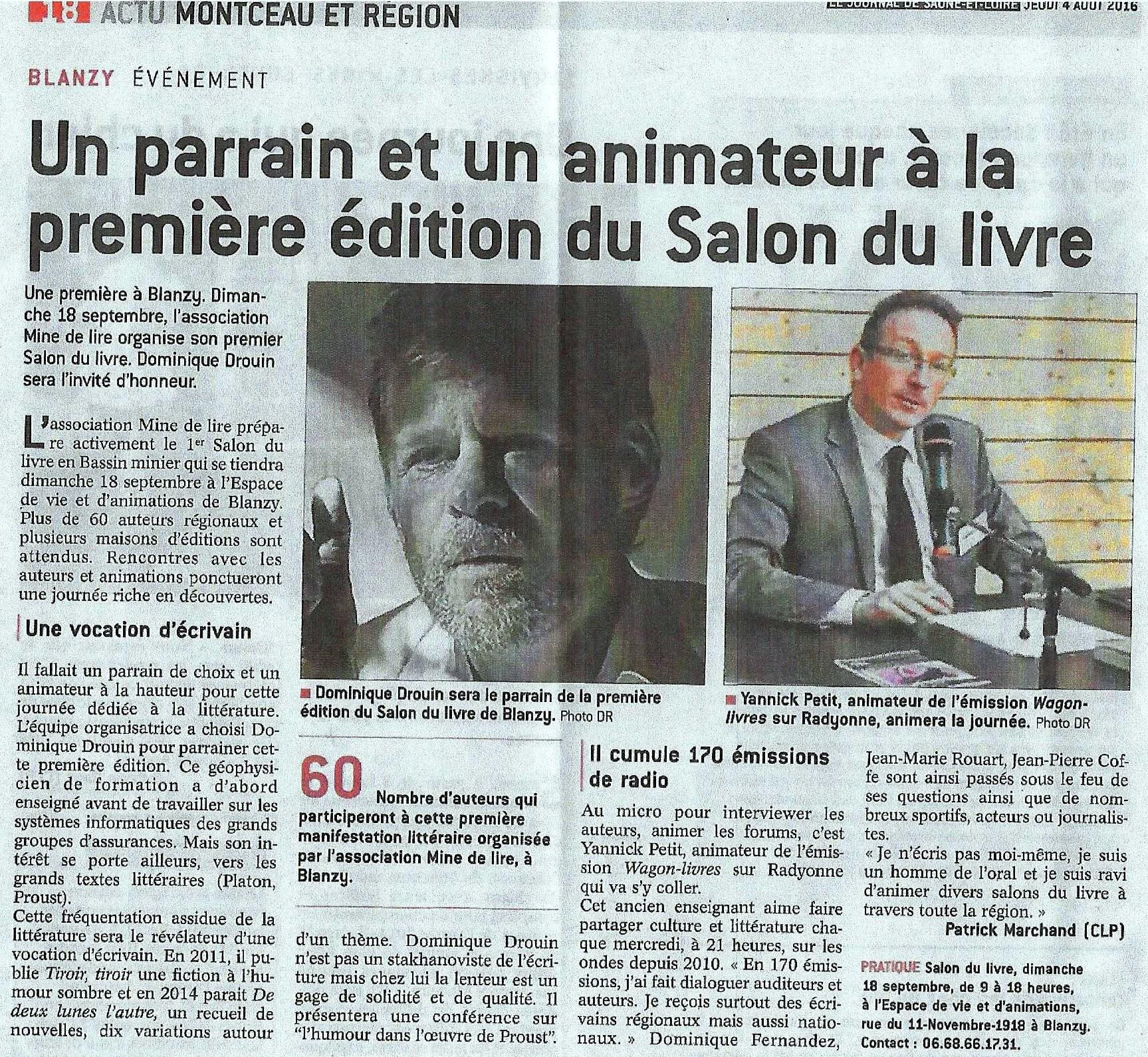 Article Journal de Saône-et-Loire 4 août 2016.